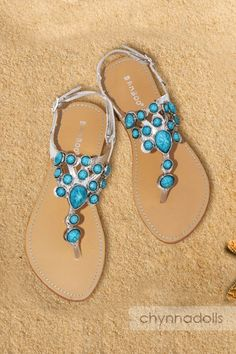 Sandals Silver Flat Turquoise Stone Top Ankle Strap