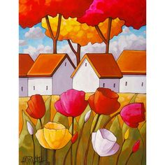 Fine art print reproduction, bright tulips cottage landscape featuring vibrant colors in a modern abstract folk style. ____________________________________________________________  TITLE: Cottages & Tulips  SIZE: Paper - 8 1/2 x 11, Image - 7 x 9 1/8 (white border surrounds image for easy framing)  MEDIUM: Fine art reproduction print, professionally printed in Canada using archival inks and printed on 100% cotton Hahnemühle Photo Rag acid-free paper, which brings out deep blacks...