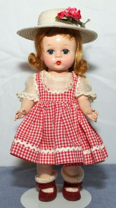 1953 ALEXANDER-KIN IN CUTE RED CHECKED OUTFIT WITH ALEXANDER BOX #ALEXANDERKINS