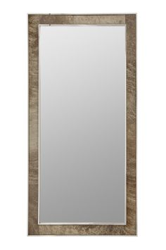 358-335 Cassidy Floor Mirror | Bernhardt W 35.5 H 71 Polished Stainless Steel Frame Hair on Hide Inset #Rectangle $1530
