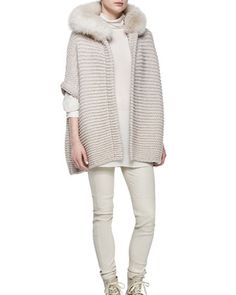 Fox Fur Trimmed Hooded Cashmere Poncho by Brunello Cucinelli at Neiman Marcus.