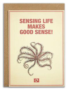 """Sensing life makes good sense!"". #messageearth #sustainable #greetingcards #sustainability #eco #design #ecodesign #vintage #cards #peculiar"