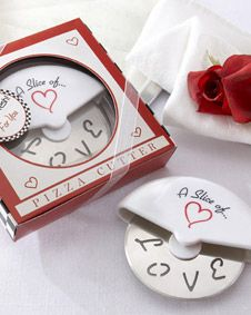 A Slice of Love Stainless-Steel Pizza Cutter in Miniature Pizza Box. http://www.bluerainbowdesign.com/WeddingFavorProduct.aspx?ProductID=PR020408170009JeNRwSXimenaBRD30010=WEDDI=GROUP=WMAID