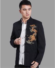 2013 NEW ! Chinese Dragon Embroided Tang Suit, Tangzhuang Men, Men Suit Shirts, Unique Design Tang Dress