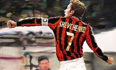 Andriy Shevchenko, A.C. Milan - Artwork by artist Andrea Del Pesco Oil painting on canvas, size cm. 100x60