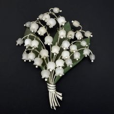 Carved rock crystal, nephrite and diamond Lily-of-the-Valley corsage ornament, Austria ca. 1950