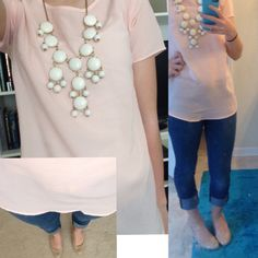 cute dressy outfit; sheer pink shirt, white bubble necklace, rolled up skinny jeans, nude heels