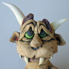 Monster Candy Holder Whimsical Ceramic Sculpture by RudkinStudio