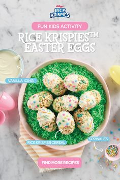 Rice Krispies Treats made into Easter Eggs! These Rice Krispy Easter Eggs are so Easy to Make and Perfect for Kids on Easter! Easter Snacks, Easter Treats, Easter Recipes, Dessert Recipes, Easter Desserts, Easter Food, Rice Krispies, Rice Krispie Treats, Holiday Desserts