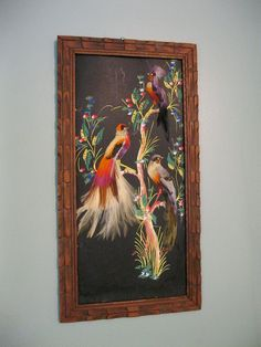 40s 50s Bird Painting with Real Feathers, gorgeous, carved frame, Mexican Folk Art
