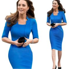 awesome Janecrafts New Chic Summer Lady's Solid Blue Bodycon Office Work Party Dresses (S) -1.  100% Brand New, Checking seriously and Package best   before shipping. 2. Middle-long sleeves and special neckline design, back   zipper craft and bright charming blue color. 3. Bodycon cut show off your chaming curves, nice fit   stretches comfy to wear for any occasion. -http://weddingdressesusa.com/product/janecrafts-new-chic-summer-ladys-solid-blue-bodycon-office-work-party-dresses-s/