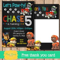 Paw Patrol Invitation Paw Patrol Invite Paw by PiperGraceDigital