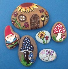 """Imagine, create, and believe! Begin to have a fairy garden, it will decor nicely a Terrarium too. 2"""" x 3"""" Blue Mushroom. 1.5"""" x 2"""" Red and Hhite Mushroom. 1.5"""" x 1""""5"""" (couple little baby blue ones) word """"believe"""".   eBay!"""