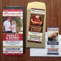 Sport Ticket Wedding Save the Date or by papercakedesigns on Etsy