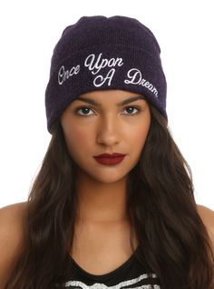 "Purple marled watchman beanie from Disney's Sleeping Beauty with an embroidered ""Once Upon A Dream"" design."