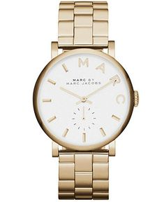 Marc by Marc Jacobs Watch, Women's Baker Gold-Tone Stainless Steel Bracelet 37mm MBM3243 - Marc by Marc Jacobs - Jewelry & Watches - Macy's