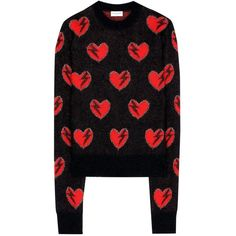 Saint Laurent Mohair-Blend Sweater ($1,160) ❤ liked on Polyvore featuring tops, sweaters, black and yves saint laurent