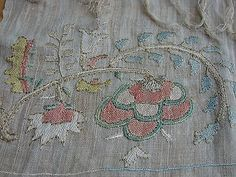 ottoman embroidery | Antique 19th C Ottoman Turkish Embroidery Towel Hand Woven Homespun ...*****
