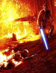 Obi-Wan Kenobi and Anakin Skywalker on Mustafar Star Wars Film, Star Wars Jedi, Star Wars Art, Star Wars Pictures, Star Wars Images, Anakin Vs Obi Wan, Starwars, Star Wars Personajes, Dc Comics