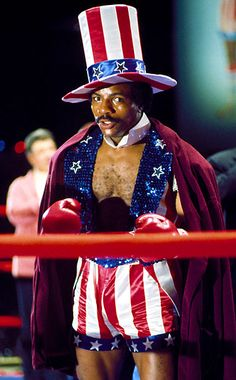 Carl Weathers in Rocky III dressed in American flag shorts and hat Poster The Expendables, Expendables Tattoo, Rocky Balboa, Rocky Series, Rocky Film, Sylvester Stallone, Rocky Stallone, Apollo Creed, Creed Movie