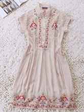 Ivory Vintage High Neck Short Sleeve Pleated Floral Polyester Dress $83.20  so adorable!