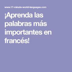 ¡Aprenda las palabras más importantes en francés!