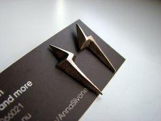 Lightening bolt earrings golden bronze by AnnaSiivonen on Etsy, $35.00