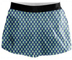 Running Shorts Green Circles Blue Retro Pattern #paom #shorts #fashion