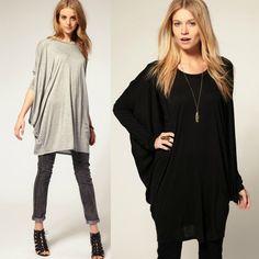 Chic Women Over Size T-Shirt Batwing Long Sleeve Knit Loose Tops Shirt