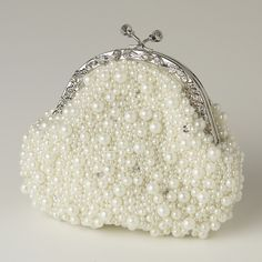 White pearl wedding purse