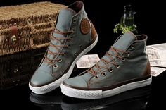 Leather Gray and brown hightops.