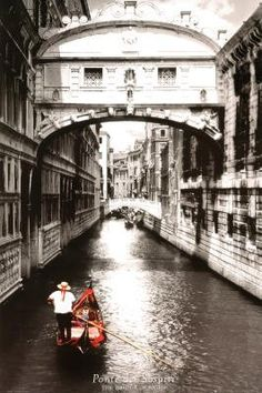 Venice  Italy Bridge of Sighs Scenic Black