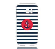 Striped Navy Anchor Phone Case - Samsung Galaxy S7 Edge