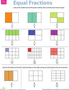 Worksheets: Fraction Practice: Equivalent Fractions