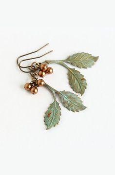 Verdigris Leaf Earrings Bronze Pearls Dangle