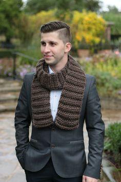 Hand Knit Scarf Mens Scarf Chunky Long Scarf Fall Winter by zukas