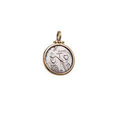 Byzantine coin pendant in 18K solid yellow gold and sterling silver. On the front it features Christ Pantokrator and on the back Saints Constantine and Helen. Byzantine Collection #Gerochristojewelry