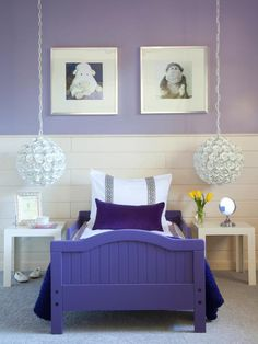 purple bedroom - for kid  LOVE THIS ... Maybe alittle more grown up for Nadia. Love the lights & color of bed.