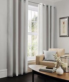 Silver Light Grey Faux Silk Lined Ready Made Eyelet Curtains 90 X