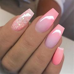 / bag Ballerina Nail Art Tips Transparent / Na .- / bag Ballerina Nail Art Tips Transparent / Natural False Casket Nails Art Tips Flat Shape Full Cover Manicure Fake - Glitter Nails, Gel Nails, Stiletto Nails, Pink Ombre Nails, Pink Glitter, Pink Summer Nails, Coffin Ombre Nails, Pretty Nails For Summer, Shellac