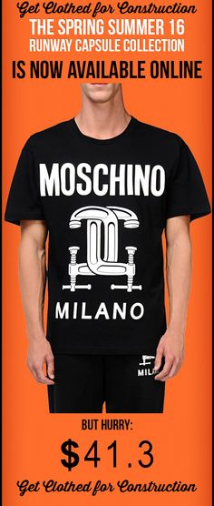 MOSCHINO Short sleeve t-shirts Get clothed for Construction women fashion show 2016 ss16 Spring Summer Milano RUNWAY PICKS CAPSULE COLLECTION black white  http://www.aliexpress.com/item/Short-sleeve-t-shirts-Get-clothed-for-Construction-fashion-show-2016-ss16-Spring-Summer-Milano-RUNWAY/32480642470.html