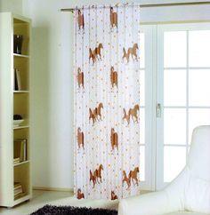 Schlaufenschal Vorhang Voile weiß bunte Pferde Blümchen Schlaufenband 245 cm ho • 14.99 EUR