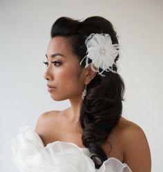 Bridal, White Feather Fascinator - SIMONE -$69.00