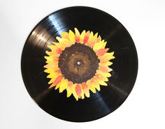 Sunflower Hand Painted VinylHandmade by LisforLuckyCreations Painting Inspiration, Art Inspo, Record Wall Art, Ukulele Art, Chalkboard Wall Bedroom, My New Room, Vinyl Art, Vinyl Records, New Art