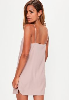 Missguided - Petite Pink Crepe Shift Dress