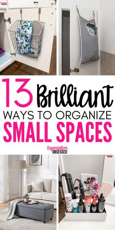 These Genius tips to organize small spaces will have your small home organized inno time! Don't miss these storage solutions for small homes and small spaces! organization 13 Brilliant Ideas For Organizing Small Spaces - Organization Obsessed Small Space Storage, Small Space Organization, Home Organization Hacks, Storage Hacks, Organizing Your Home, Storage Solutions, Clothing Organization, Closet Solutions, Organizing Ideas