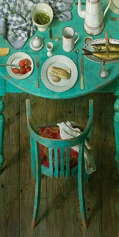 Green table and chair - Dutch Painter, Kenne Gregoire (Born 1951 - ) #art
