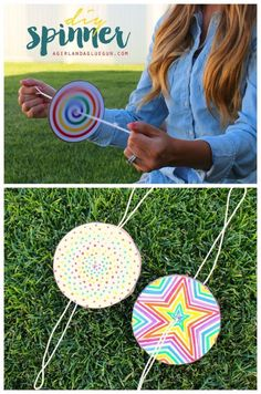 DIY Ideas for Kids To Make This Summer - DIY Paper Spinner - Fun Crafts and Cool Projects for Boys and Girls To Make at Home - Easy and Cheap Do It Yourself Project Ideas With Paint, Glue, Paper, Glitter, Chalk and Things You Can Find Around The House - Creative Arts and Crafts Ideas for Children http://diyjoy.com/diy-ideas-kids-summer