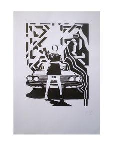 Grabado: Xilografía blanco y negro. 35 x 50 cm