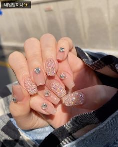Korean Nail Art, Korean Nails, Trendy Nails, Cute Nails, Acrylic Nails, Gel Nails, Kawaii Nails, Nail Tattoo, Luxury Nails